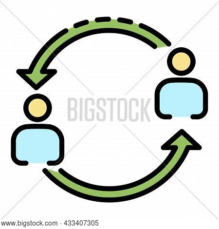 Help Each Other Icon. Outline Help Each Other Vector Icon Color Flat Isolated