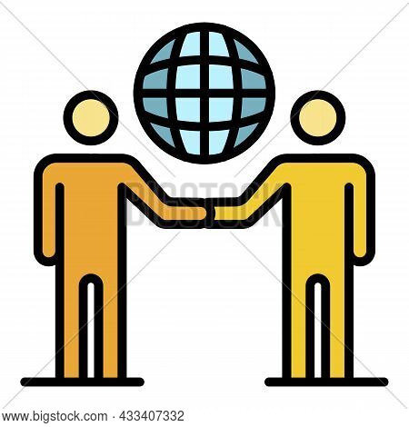 Global Partner Charity Icon. Outline Global Partner Charity Vector Icon Color Flat Isolated