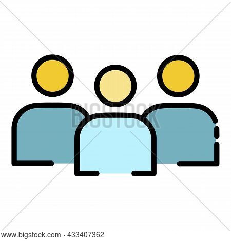 Volunteer Group Icon. Outline Volunteer Group Vector Icon Color Flat Isolated