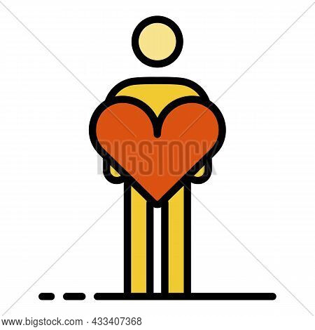 Man Take Care Heart Icon. Outline Man Take Care Heart Vector Icon Color Flat Isolated