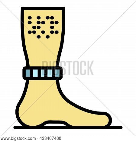 Mite On Leg Icon. Outline Mite On Leg Vector Icon Color Flat Isolated