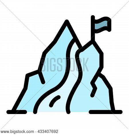 Mountain Cascade Icon. Outline Mountain Cascade Vector Icon Color Flat Isolated
