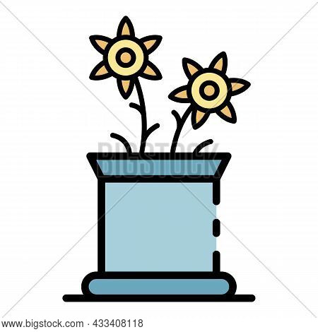Flower Pot Icon. Outline Flower Pot Vector Icon Color Flat Isolated