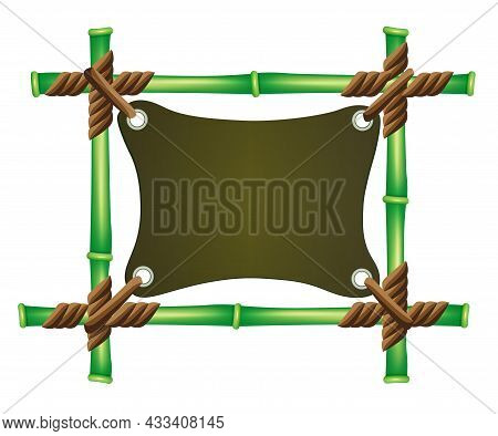 Tropical Isolated Frame Made Of Tied Green Bamboo And Tied Fabric, Design Element