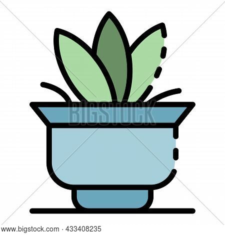 Big Leaf Houseplant Icon. Outline Big Leaf Houseplant Vector Icon Color Flat Isolated