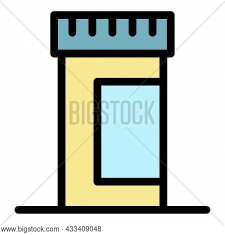 Pill Container Icon. Outline Pill Container Vector Icon Color Flat Isolated