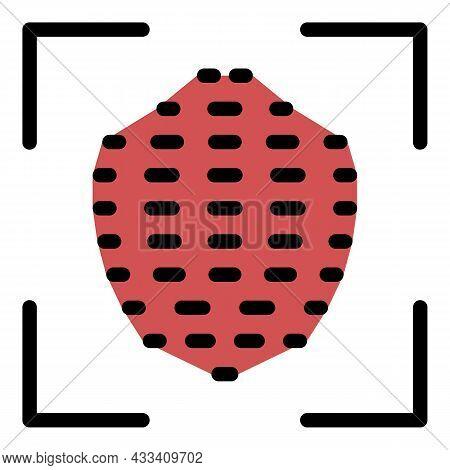 Fingerprint Scan Icon. Outline Fingerprint Scan Vector Icon Color Flat Isolated