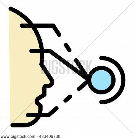 Face Recognition System Icon. Outline Face Recognition System Vector Icon Color Flat Isolated
