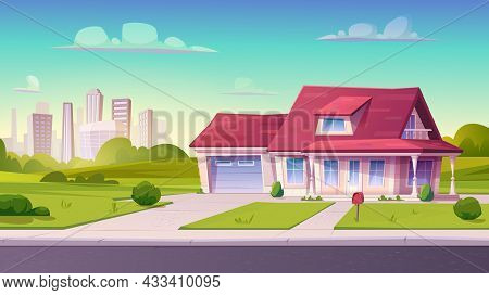 Village Or Country Street With Suburban House, Residential Cottage, Exterior.two Storey Dwelling Pla