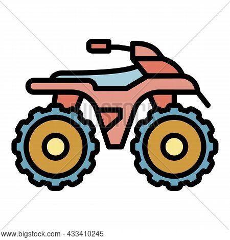 Side Quad Bike Icon. Outline Side Quad Bike Vector Icon Color Flat Isolated