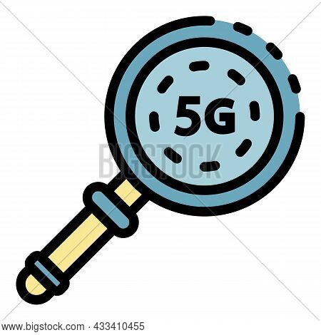 5g Magnifier Icon. Outline 5g Magnifier Vector Icon Color Flat Isolated