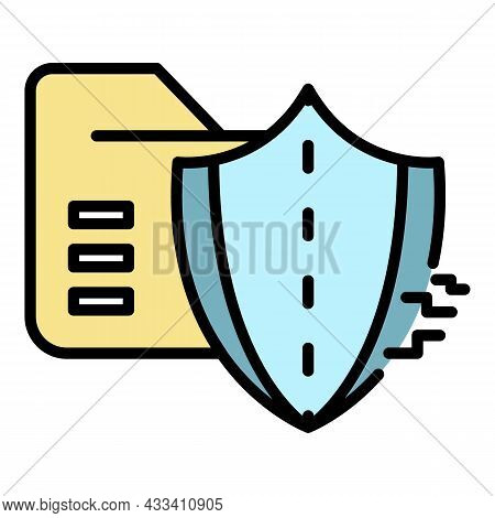 Cyber Attack On Firewall Icon. Outline Cyber Attack On Firewall Vector Icon Color Flat Isolated