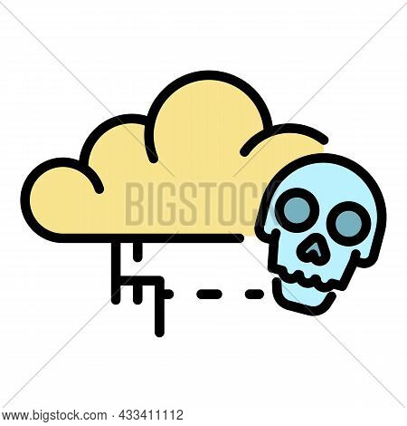 Cloud Virus Detection Icon. Outline Cloud Virus Detection Vector Icon Color Flat Isolated