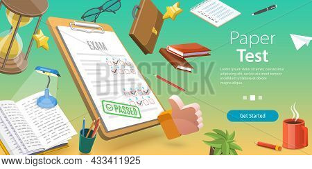 3d Vector Conceptual Illustration Of Paper Test, Exam Sheet With Grade Results