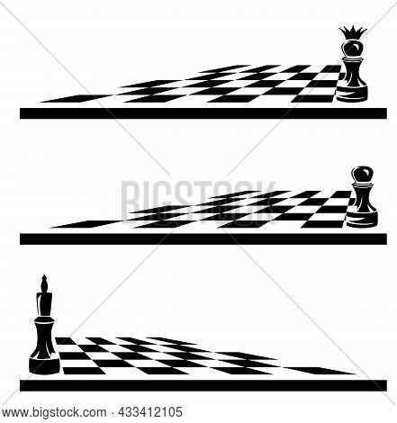 Single Chess Piece On A Game Board -  Black And White Vector Outline Of King, Pawn And Checkerboard