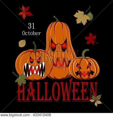 Halloween Banner With The Image Of Evil Pumpkins. Happy Halloween. Design Elements For Banner, Flyer