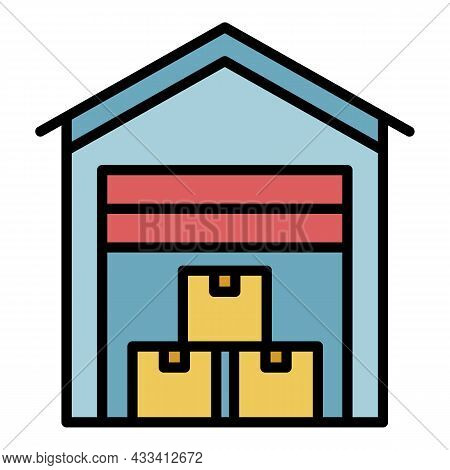 Covered Export Warehouse Icon. Outline Covered Export Warehouse Vector Icon Color Flat Isolated