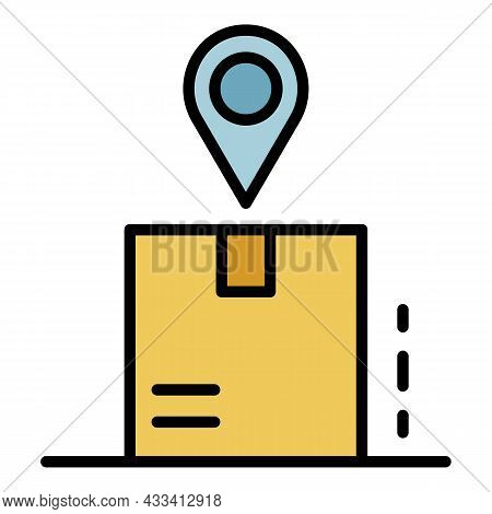 Package Tracking Icon. Outline Package Tracking Vector Icon Color Flat Isolated