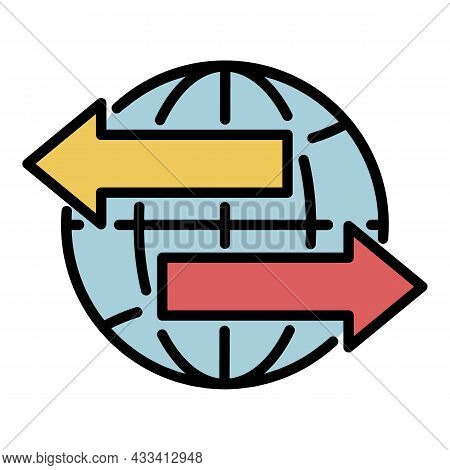 Global Export Icon. Outline Global Export Vector Icon Color Flat Isolated