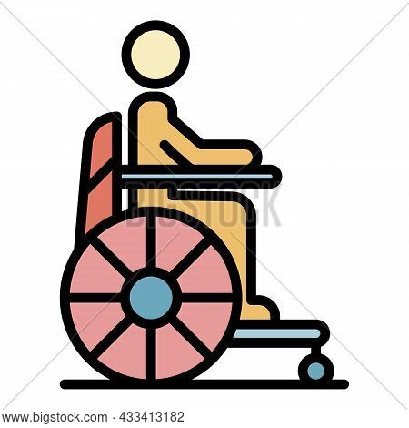 Man Wheelchair Icon. Outline Man Wheelchair Vector Icon Color Flat Isolated