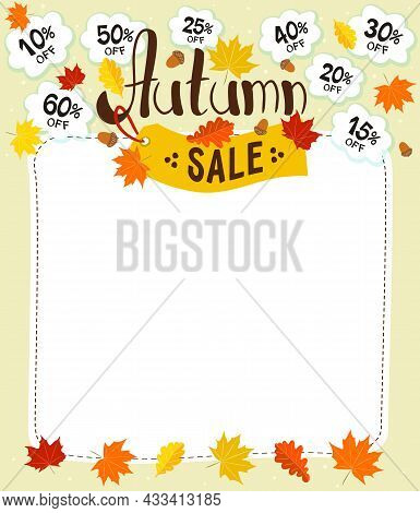 Autumn Sale Template. Logo With Autumn Leaves, Yellow Price Tag And Discount Clouds. Vector Illustra