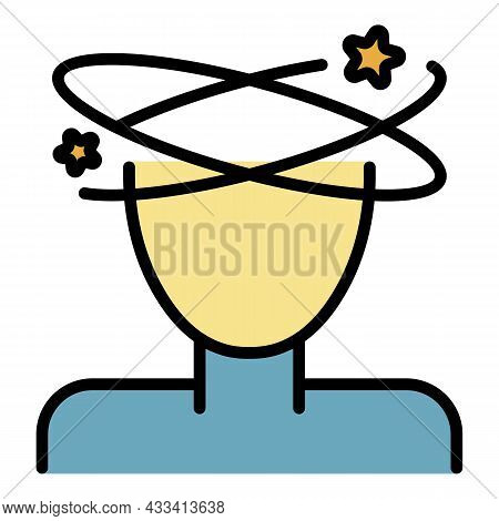 Dizzy Icon. Outline Dizzy Vector Icon Color Flat Isolated