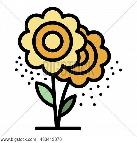 Allergy Flower Icon. Outline Allergy Flower Vector Icon Color Flat Isolated