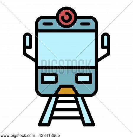 Arriving Train Front View Icon. Outline Arriving Train Front View Vector Icon Color Flat Isolated