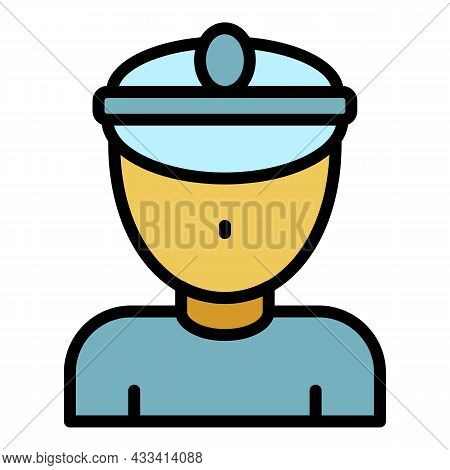 Railway Conductor Icon. Outline Railway Conductor Vector Icon Color Flat Isolated