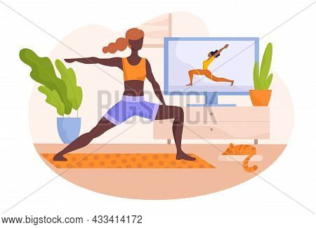 Online Yoga Class Concept. Woman Watches Webinar And Performs Sports Exercises At Home. Static Pose