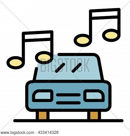 Loud Music In The Car Icon. Outline Loud Music In The Car Vector Icon Color Flat Isolated