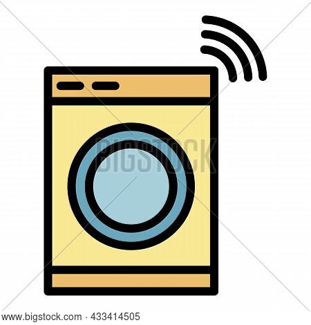 Wireless Laundry Control Icon. Outline Wireless Laundry Control Vector Icon Color Flat Isolated
