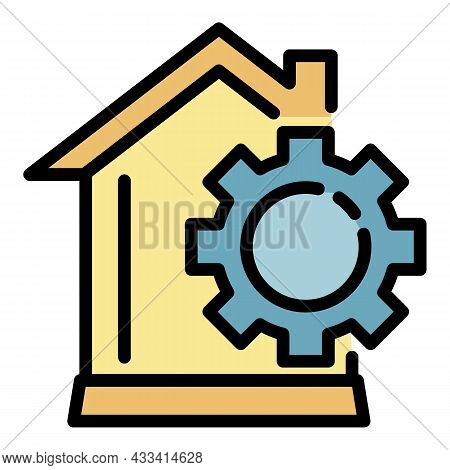 Smart Home Mechanism Icon. Outline Smart Home Mechanism Vector Icon Color Flat Isolated