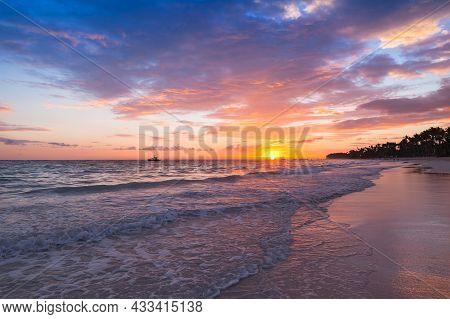 Tropical Sunrise. Atlantic Ocean Coast, Bavaro Beach, Dominican Republic, Coastal Landscape