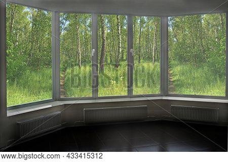 Window Of Veranda Overlooking The Beautiful Birchwood With Ravines. Beautiful View From Window. Spri