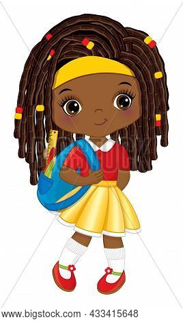 Cute School African American Girl Holding Backpack With Accessories. Vector Back To School. Cute Gir