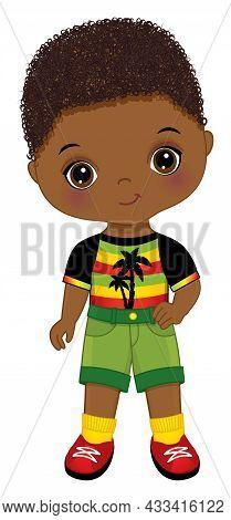 Cute Little African American Boy Wearing Rastafarian Outfit. Little Is Curly. Cute Reggae Black Boy