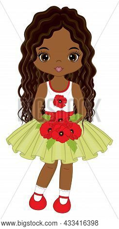 Beautiful African American Girl Holding Bunch Of Red Poppies. Cute Girl Is Curly With Long Hair. Vec