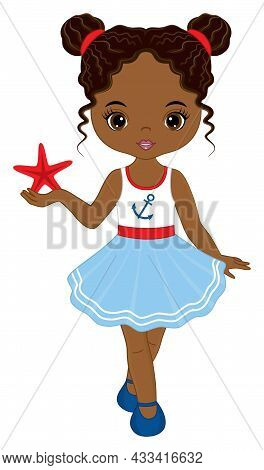 Vector Teen African American Girl Wearing Nautical Dress. Beautiful Black Girl Holding Starfish. Bla