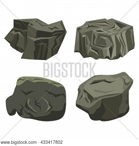 Raised Rock Stone Cartoon Vector Set In A Flat Embossed Style. Cartoon Props For Outdoor Interior.