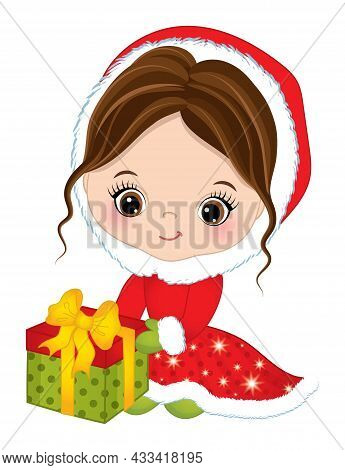 Cute Little Girl Sitting Outside Wearing Winter Red Coat, Green Mittens Holding Gift Box, Decorated