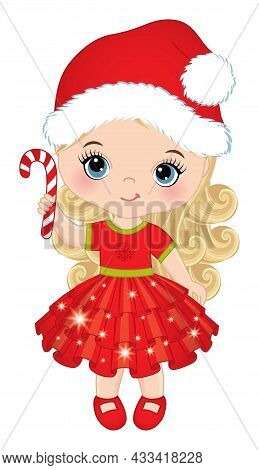 Cute Little Girl Wearing Xmas Red Ruffled Dress, Santa Claus Hat Holding Candy Stick. Little Girl Is