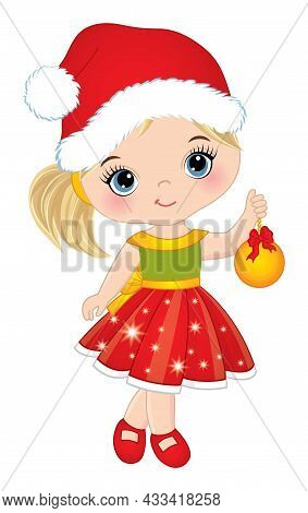 Cute Little Girl Wearing Xmas Dress, Santa Claus Hat Holding Golden Bauble With Bow. Little Girl Is