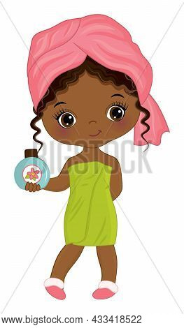 Little Girl After Shower Wrapping In Towel. African American Girl Holding A Bottle Of Shampoo. Spa B
