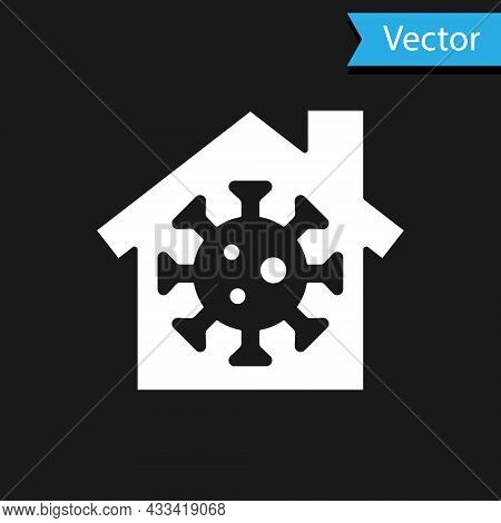 White Stay Home Icon Isolated On Black Background. Corona Virus 2019-ncov. Vector.
