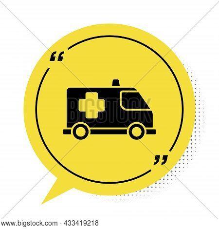 Black Ambulance And Emergency Car Icon Isolated On White Background. Ambulance Vehicle Medical Evacu