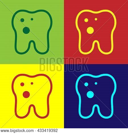 Pop Art Tooth With Caries Icon Isolated On Color Background. Tooth Decay. Vector