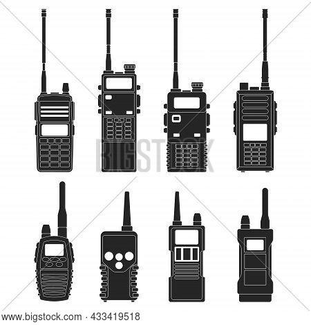 Walkie Talkie Vector Black Icon. Isolated Black Set Icon Radio Walky .vector Illustration Walkie Tal