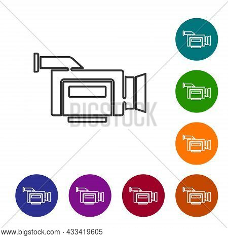 Black Line Cinema Camera Icon Isolated On White Background. Video Camera. Movie Sign. Film Projector