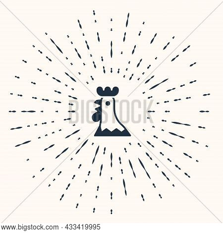 Grey French Rooster Icon Isolated On Beige Background. Abstract Circle Random Dots. Vector